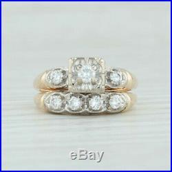 Vintage. 46ctw Diamond Wedding Band & Engagement Ring Set 14k Gold Size 6