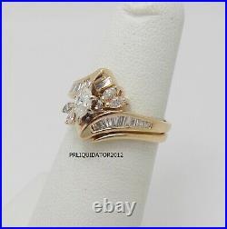 Vintage 5/8CT Diamond Engagement Wedding Ring Bridal Set Band 14K Yellow Gold