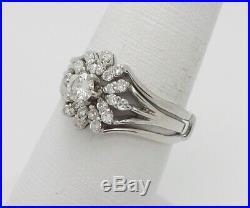 Vintage 5/8CT Diamond Wrap Engagement Wedding Bridal Set Ring 18K White Gold