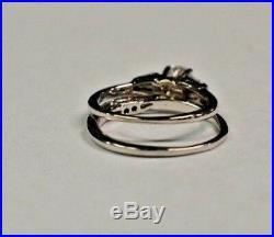 Vintage. 60 Cts F/i1 Diamond 18 Kt White Gold (2) Ring Wedding Set Sz 4.5