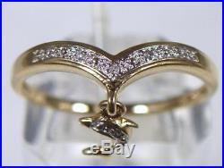 Vintage 9ct Gold 6 Diamond Wishbone Shape Dolphin Pendant Ring 1980's U. K size Q
