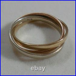 Vintage 9k Solid Gold Tri-colour Russian Wedding Ring Band