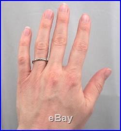 Vintage ART DECO 18K White GOLD 8-Stone DIAMOND Wedding Ring Band Floral 2.1g