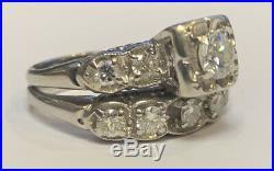 Vintage Antique 14k White Gold Round Diamond Matched Wedding Ring Set Size 5.25