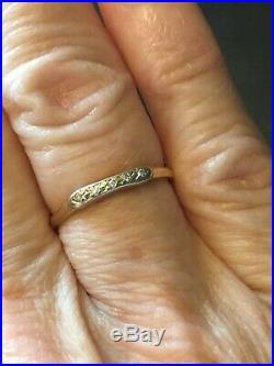Vintage Antique Art Deco 14K Yellow Gold Diamond Wedding Band (663)