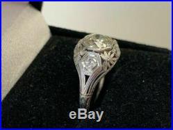 Vintage & Antique Art Deco 3Ct White Diamond Wedding Fine Ring in 14k White Gold
