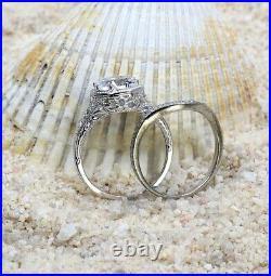 Vintage & Antique Art Deco Filigree Bridal Ring Set 14k Gold Over 2.2 Ct Diamond
