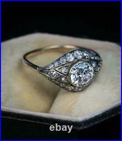 Vintage Antique Art Nouveau Wedding Ring 14k White Gold Over 2.3Ct Round Diamond
