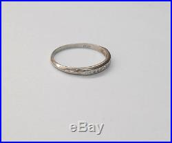 Vintage Antique Diamond Platinum Estate Wedding Ring Band Sz 6.75