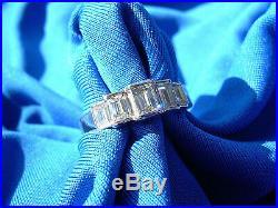 Vintage Antique Diamond Wedding Band Deco Emerald cut Anniversary Eternity Ring