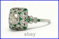 Vintage & Antique Edwardian Fine Wedding Ring 14k White Gold Over 2 Ct Diamond