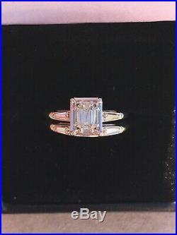Vintage Antique Emerald Cut Diamond Engagement Wedding Ring Set 14k WG SZ 6.75