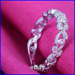 Vintage Antique Estate Wedding Band Real 10K White Gold Engagement Diamonds Ring