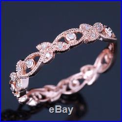 Vintage Antique Estate Wedding Band Solid 10k Rose Gold Engagement Diamonds Ring