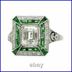 Vintage & Antique Fine Wedding Sapphire Ring 3 Ct Emerald Diamond 14k White Gold