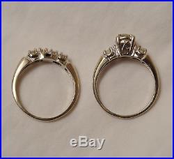 Vintage Antique Mine Cut Diamond 14k Engage Wedding Ring Set