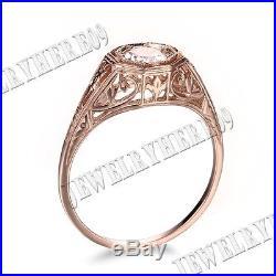 Vintage Antique Solid 10K Rose Gold 4.5m Round Morganite Engagement Wedding Ring