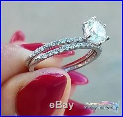 Vintage Antique Style Lab Diamond Bridal Wedding Band Ring Set White Gold Finish