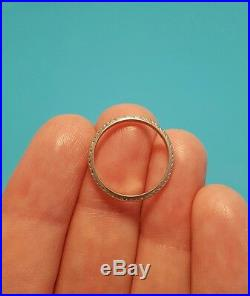 Vintage Antique Textured Art Deco Platinum Wedding Ring Band Sz 5.50 5 1/2 Mark