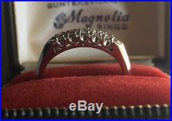 Vintage Art Deco 14K White Gold 5 Diamond Wedding Band Ring Size 6.25