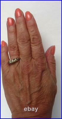 Vintage Art Deco 14k Gold. 35Ct Euro Diamond 3 Stone Belcher Wedding Band Ring