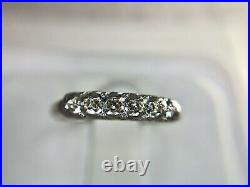 Vintage Art Deco 14k White Gold Small Round Single Cut Diamond Wedding Band Ring