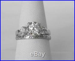 Vintage Art Deco 18k Wht Gold BELAIS Orange Blossom Wedding Band Ring Date 1924
