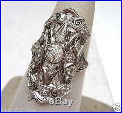 Vintage Art Deco 1930s White Round Diamond Engagement Wedding 925 Silver Ring