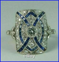 Vintage Art Deco 1.25Ct Round Diamond Sapphire Wedding Ring 14K White Gold Fn