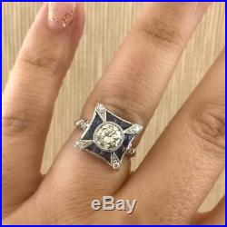 Vintage Art Deco 2Ct Diamond &Sapphire Engagement Wedding Ring 14k White Gold Fn