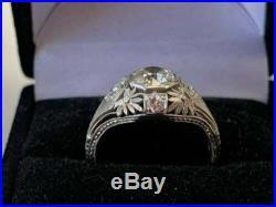 Vintage Art Deco 2.10Ct Round Diamond 14k White Gold Engagement & Wedding Ring