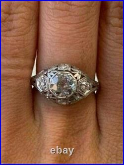 Vintage Art Deco 2.10 Ct Round Diamond 14K White Gold Fn Engagement/Wedding Ring