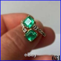 Vintage Art Deco 2.20 ct Green Emerald & Diamond Antique Engagement Wedding Ring