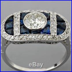 Vintage Art Deco 2.20ct White & Blue Sapphire 925 Silver Engagement Wedding Ring
