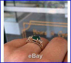 Vintage Art Deco 2.35 ct Green Emerald & Diamond Antique Engagement Wedding Ring