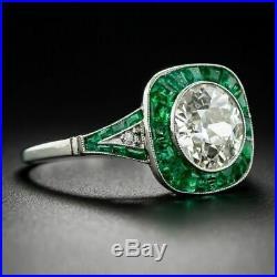 Vintage Art Deco 2.8Ct Round Antique Engagement Wedding Ring 14k White Gold Over