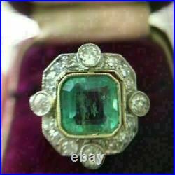 Vintage Art Deco 2 Ct Asscher Green Emerald Engagement Ring 14K White Gold Over