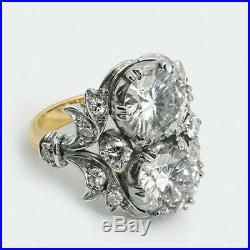 Vintage Art Deco 3.20 ct Round Cut Diamond Antique Engagement Wedding Ring 65