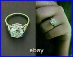 Vintage Art Deco 3.50 Ct Diamond Engagement Wedding Ring 14K White Gold Finish