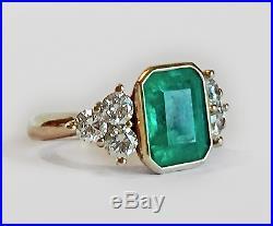 Vintage Art Deco 4.20 ct Green Emerald & Diamond Antique Engagement Wedding Ring