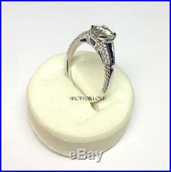 Vintage Art Deco 8 MM Off Moissanite Diamond Wedding Ring 925 Sterling Silver