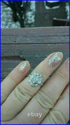 Vintage Art Deco Antique Engagement Wedding Ring 2Ct Diamond 14K White Gold Over