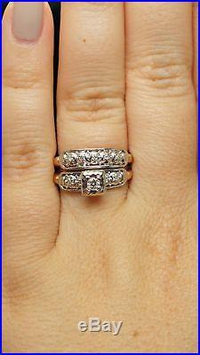 Vintage Art Deco Assembled Diamond Engagement Ring & Wedding Band Bridal Set
