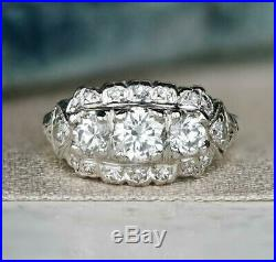 Vintage Art Deco Cluster Engagement Wedding Ring 2Ct Diamond 14K White Gold Over
