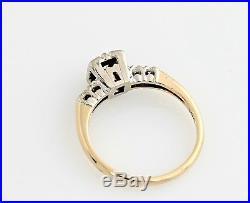 Vintage Art Deco Diamond Engagement Ring 14K YG WG Gold Wedding Band. 13 Ctw