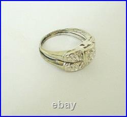 Vintage Art Deco Diamond Wedding Band Engagement Ring Set 14k White Gold Size 6