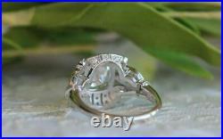 Vintage Art-Deco Engagement Ring 2Ct Cushion Cut Diamond 14K white Gold Finish
