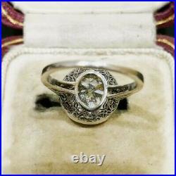 Vintage Art Deco Engagement Wedding Antique Ring 14K White Gold FN 2Ct Diamond