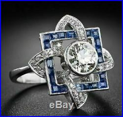 Vintage Art Deco Engagement Wedding Ring 14K White Gold Fn 1Ct Diamond Sapphire