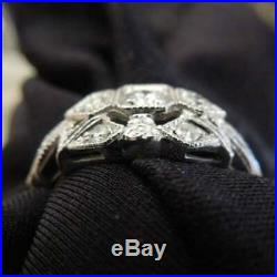 Vintage Art Deco Engagement Wedding Ring 1.61Ct Diamond 14K White Gold Over Fine